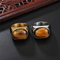 Оптово Дизайн ретро Tiger Eye Кольцо Gemstone титана стали ювелирные изделия мужчины и женщины Классический простой личности способа ювелирных изделий