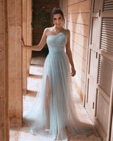 2020 Арабский Асо Ebi Sky Blue Дешевые Вечерние платья одно плечо Sequined Пром платья высокого Раздельное официальный прием мантий партии Второй