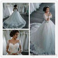 Robe blanche robe à manches longues et taille de mariage robes de mariée Saoudiens 2018 dentelle applique vintage luxe robe de mariée robes de robe en dentelle long train
