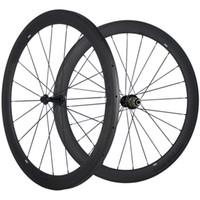 카본 휠 세트 50mm 깊이 25mm 폭 탄소 바퀴 도로 자전거 700C 클린 처 / 관 / 튜브없는 UD 매트 바퀴