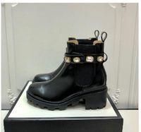 Горячие Продажа-осень зима новый стиль высокие каблуки лодыжки ботинки женщин коренастый кристалл мартеновские сапоги черные