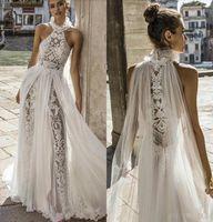Julie Vino 2020 Bohemian Vestidos de casamento Halter Neck Lace vestidos de noiva delicado Uma Linha Boho vestido de casamento vestido de novia Especial Cut