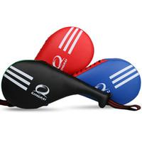 Alta qualidade PU Leather Taekwondo TKD pulseira de Alça Portátil Duplo Paddle Kicking Target Pad kick pad target