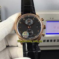 YLF Topversion Portugieser Chronograph Klassik 390.405 Cal.89361 Automatische 28800 Uph Schwarz Dial Herrenuhr Sapphire Leder-Sport-Uhren