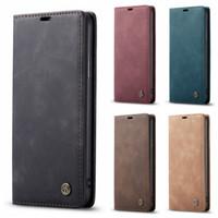 CASEME Skórzany Portfel Case Dla iPhone 13 Pro Max 12 Mini 11 XI X X XR X 8 7 6 Samsung S21 Ultra Fe A72 A52 A42 A32 A22 Business Ssać Zamknięcie magnetyczne Vintage Flip Covers