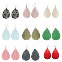 36 colors waterdrop PU leather Earrings solid pure fashion E...