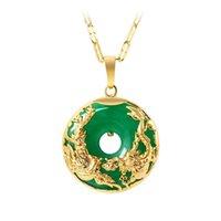 Collar de Oro 14K Esmeralda colgantes de mujer de lujo Colgante De Mujer 925 verde esmeralda jade colgante de piedra preciosa del Topaz collares CX200611