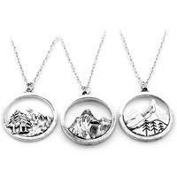 Оптовый Прекрасный круглый кулон Сосна очарование под горой ожерелье кемпинг ювелирные изделия Открытый Ювелирные Подарки