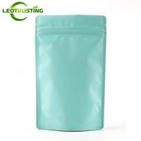 Leotrusting 50pcs / parti matt ljusblå aluminiumfolie ziplock väska stå upp blå oxidation proof dragkedja påse dopack presentfolie förpackning
