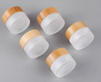 frosted glass jar bamboo lid 20g cosmetic concentrate stash ...