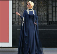 Generous Long Sleeves Arabic Muslim Evening Dresses Applique...