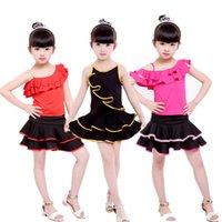 Сцена носить детский латинский танец плечо от слинга платье TUTU стихинг бальный зал ребёнок современный танго сальса танцующий костюм
