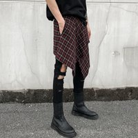 2019 Summer Men Casual Plaid Short Skirt Pants Fashion Trous...