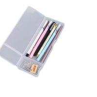 translúcida de cor sólida fosco lápis papelaria simples caixa caixa de lápis multifuncional caneta de armazenamento de plástico criativas alunos lápis malas
