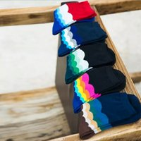 fashion colorful ripple socks for men spring autumn brand ca...