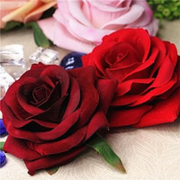 6PCS 10 * 10CM المخملية كبير وهمية الورود الحمراء رئيس زهور محاكاة الديكور غطاء الرأس اليدويه اليدوية القماش اكسسوارات الزفاف مصنع وهمية