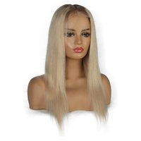 Ombre Platinum Blonde Wigs #8#60 Lace Front Human Hair Wigs ...
