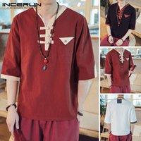 Chemises occasionnelles pour hommes incerun 2021 hommes à moitié manches Street Vintage V eccolaire Camisa Masculina Couleur Coton Chemise de style chinois