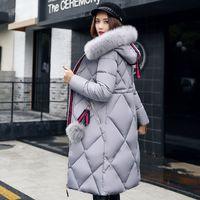 2019 Brasão Big Fur casaco de inverno espessamento Parka Mulheres costura Magro Longo Inverno para baixo Cotton Senhoras de Down Parka Jacket Mulheres