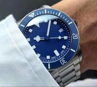 Швейцарские часы Orologio 25600tb Автоматическая Movment из нержавеющей стали / кожаный ремешок черный / синий циферблат Спорт Мужские часы Бесплатная доставка