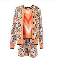 가을 3 조각 여성 드레스 이른 봄 색상 자카드 긴 소매 스웨터 가디건 + 스트라이프 조끼 반바지 바지 세 벌의 양복을 명중 설정