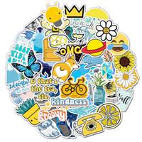 100шт / набор на открытом воздухе ВС Желтый Синий Эстетическая стикеров винила Водонепроницаемая бутылки Laptop Trendy воды наклейки Декаль граффити Патчи