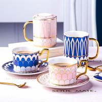 Bone China britânica Royally copo de café de chá em cerâmica Cup Pires In Set criativa Porcelain Espresso Cup para presente 180ml Copos