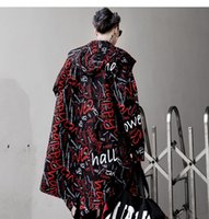 cool Long Jacket Trench Men Full Letter Print Fashion Haraju...
