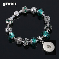 Fashion Crystal Bead Glass Link Bracelet 090 18mm Snap Button Charm Bangle Jewelry For Women Teenagers Gift 20cm+1cm