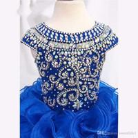 Imagem real Royal Blue Frisado de Cristal Girls Pageant Vestidos Ruffles Organza Mini Flor Meninas Vestidos Personalizados Feitos Feitos de Aniversário Vestido