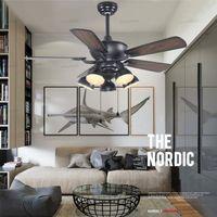 Soffitto americana Fan industriale lampada Stile creativo di personalità con la lampada Ventilatore a soffitto Retro Sala da pranzo Salotto Camera Fan Lampada LLFA