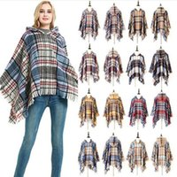 Wraps Plaid Winter Hooded Cape Fringed Knit Shawl Wearable F...
