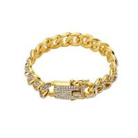 Voller Rhinestone Herren Edelstahl Biker Armband Gold Silber Farbe Doppel Sicherheit Magnetverschluss Mode Hip Hop Schmuck Armbänder für Männer