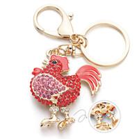 패션 - 수탉 명품 닭 치킨 열쇠 고리 크리스탈 악세사리 열쇠 고리 체인 홀더 금속 동물 열쇠 고리 K302