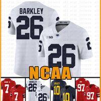 Penn State Nittany Lion 26 Saquon Barkley football americano Jersey 10 Tom Brady 97 Nick Bosa maglie acwe adulti