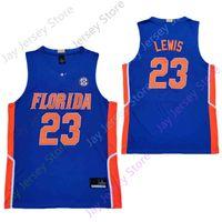 2020 New Florida Gators Statistik College Basketball Jersey NCAA 23 Scottie Lewis Blau Alle genähtes und Stickerei Männer Jugend Größe
