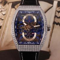 جديد الطليعة YachTing V45 S6 الهيكل العظمي الأزرق الهاتفي التلقائية الرجال ووتش فضة حالة الماس الحافة جلدية / المطاط رياضة ساعات hello_watch