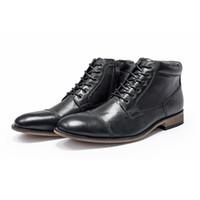 Stivali business casual abito firmato scarpe retrò in pelle di lusso del Mens nero Brown della punta aguzza Shoes Cowskin uomini di modo con la scatola