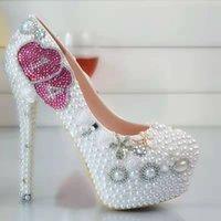 Pearl Flowers scarpe da sposa rosa doppi cuore pompa scarpe con tacchi da sposa 8cm Scarpe 11 centimetri 14 centimetri Bling Bling diamante Prom per Lady