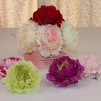 الزهور الاصطناعية الحرير الفاوانيا زهرة رؤساء حفل زفاف زينة لوازم محاكاة زهرة رئيس ديكورات المنزل 12 سنتيمتر HH7-383