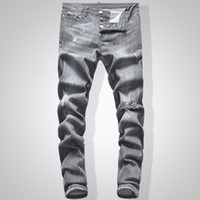 Grey Jeans Men Slim Fit Denim Solid Color Hip Hop Streetwear...