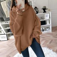 Мода Плюс размер 2XL вязаные свитера и пуловеры Женщины Сыпучие Водолазка Длинные Sweter Femme Трикотаж Перемычки Tops