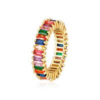 Frauen Männer 6-9 Gold überzogene Regenbogen-Liebe Ringe Ehering Micro Gepflasterte 7 Farben Blumen Schmuck-Liebhaber-Geschenk