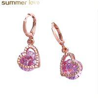 Блестящие кубическими циркония сердца серьги сердца розовое золото 5 цветов полый дизайн маленькие болтающиеся серьги для женщин девушки романтические украшения