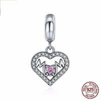 Solide 925 Sterling Silver Coeur avec Diamonds CZ Bracelet Shape Coeur Maman Lettres Love Charme Pendentif pour Collier Livraison Gratuite