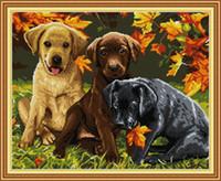 Üç Köpekler Ev Dekor DIY Yapıt Seti, El Yapımı Çapraz Dikiş Zanaat Araçları Nakış İğne Setleri Tuval Üzerine Sayılan DMC 14CT / 11CT