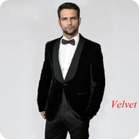 Black Velvet Blazer Men Suits For Wedding Suits Bridegroom S...