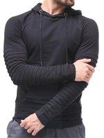 Bahar Erkek İnce Katlama Tasarımcı Kapüşonlular Artı boyutu Kazak Kazak Streak Uzun Kollu Katı Renk Erkek Giyim
