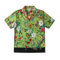 Avrupa İlkbahar Yaz Erkek Bitkiler Çiçek Çiçek Kısa Kollu gömlek Serin Hip hop Gömlek Tasarımcı Tee