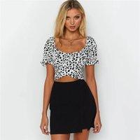 Bow Polka Dot Kurzarm Crop Top Womens Designer T-shirt Sexy Womens Designer Crop Top Casual Damen Kleidung